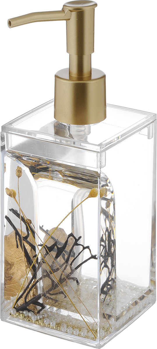 Дозатор для жидкого мыла Vanstore Aurum, 300 мл68/5/3Дозатор для жидкого мыла Vanstore Aurum, изготовленный из пластика, отлично подойдет для вашей ванной комнаты. Дозатор имеет двойные стенки, между которыми находится прозрачная нетоксичная жидкость с декоративными элементами. Такой аксессуар очень удобен в использовании, достаточно лишь перелить жидкое мыло в дозатор, а когда необходимо использование мыла, легким нажатием выдавить нужное количество. Дозатор для жидкого мыла Vanstore Aurum создаст особую атмосферу уюта и максимального комфорта в ванной.Размер дозатора: 6,5 х 6,5 х 19,5 см.Объем: 300 мл.