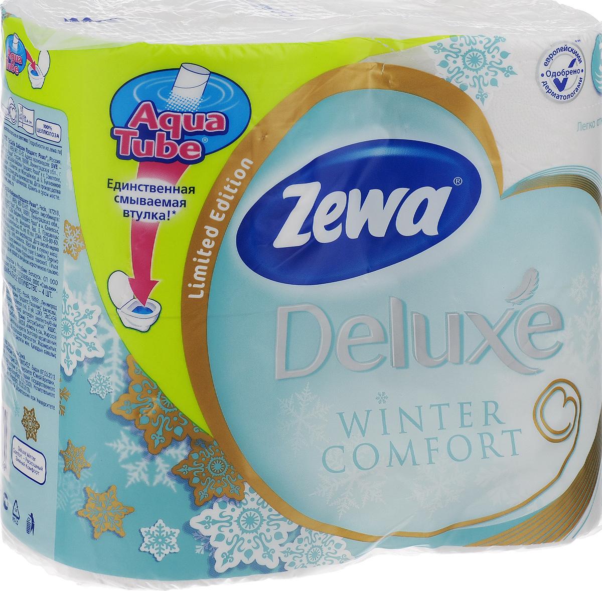 Туалетная бумага Zewa Deluxe. Winter Comfort, трехслойная, цвет: белый, 4 рулона010-01199-23Трехслойная туалетная бумага Zewa Deluxe. Winter Comfort изготовлена из целлюлозы высшего качества. Мягкая, нежная, но в тоже время прочная, бумага не расслаивается и отрывается строго по линии перфорации. Рулоны оснащены смываемой биоразлагаемой втулкой. Бумага без аромата.Материал: 100% целлюлоза.Количество листов (в одном рулоне): 150 шт.Количество слоев: 3.Размер листа: 9,5 см х 13,4 см.Длина рулона: 20,1 м.