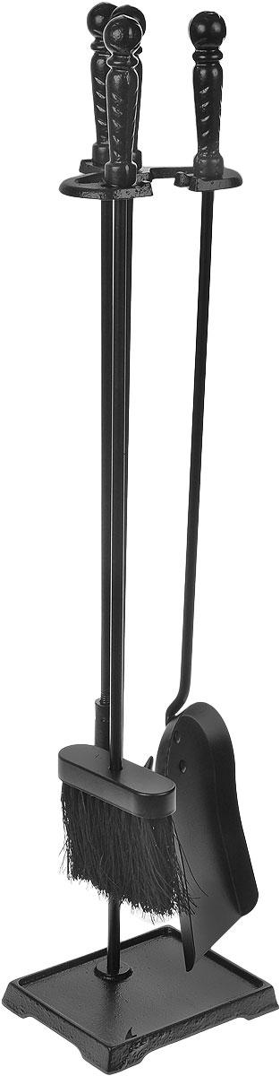 Набор каминный RealFlame, цвет: черный. 41140FS-80299В каминный набор RealFlame входит кочерга, лопатка, щетка и подставка. Все изделия выполнены из высококачественного металла и имеют оригинальный дизайн. Набор может использоваться для натурального дровяного камина, а также как интерьерный элемент для электрического камина.Длина совка: 66 см.Длина щетки: 60 см.Длина кочерги: 62 см.