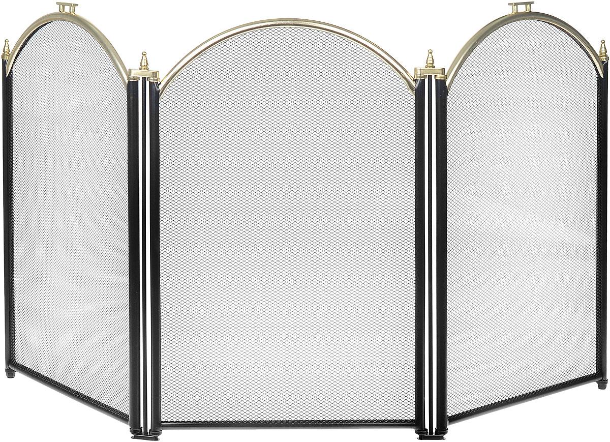 Экран каминный RealFlame, цвет: черный, латунный. 0301003010 PKКаминный экран RealFlame позволяет создать дополнительный эффект электрокамину, а так же создает дополнительный уют в доме и является незаменимым атрибутом, как современного очага так и классического. Изделие выполнено из высококачественного металла.Высота экрана: 51 см.Ширина экрана: 98 см.
