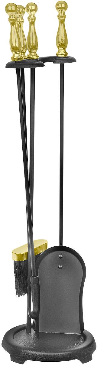 Набор каминный RealFlame, цвет: черный, латунный. 4010115015 РВВ каминный набор RealFlame входит кочерга, лопатка, щетка и подставка. Все изделия выполнены из высококачественного металла и имеют оригинальный дизайн. Набор может использоваться для натурального дровяного камина, а также как интерьерный элемент для электрического камина.Длина совка: 68 см.Длина щетки: 64 см.Длина кочерги: 68 см.
