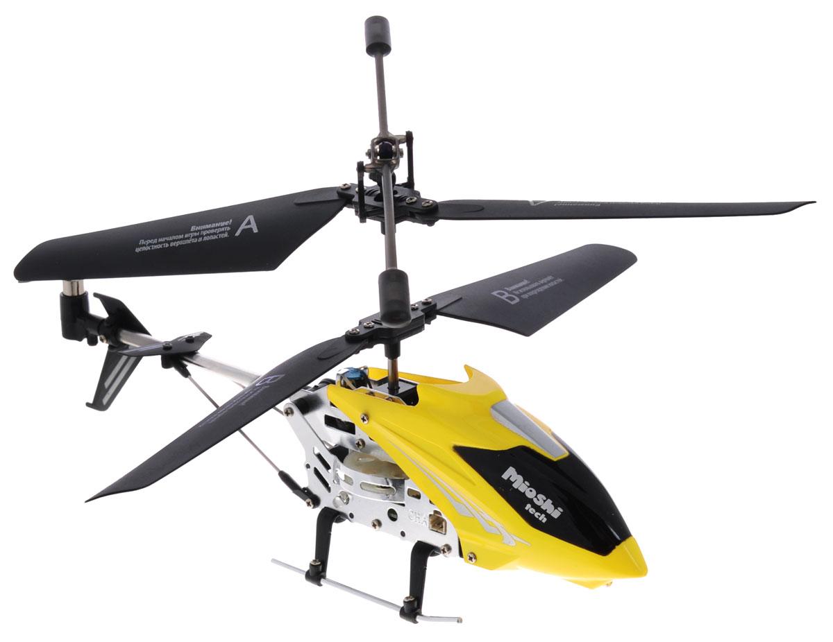 """Mioshi Вертолет на инфракрасном управлении """"Mioshi IR-107"""" непременно понравится как детям, так и взрослым. Вертолет оснащен встроенным гироскопом и 3,5-канальной системой управления. Благодаря этому модель стабильна в управлении. Движения вертолета плавные, без вращения на взлете. Наличие встроенного гироскопа делает полет сбалансированным и не позволяет сбиться с намеченного курса. Движения вертолета: вперед-назад, вверх-вниз, поворот налево-направо, зависание и вращение на 360 градусов. Такие вертолеты относятся к усовершенствованным радиоуправляемым игрушкам, пилотировать которые могут даже дети. За счет небольшого веса и легкой металлической конструкции вертолет не получает серьезных повреждений, которые возможны при первых запусках. Необходимо купить 6 батареек напряжением типа АА (не входят в комплект)."""