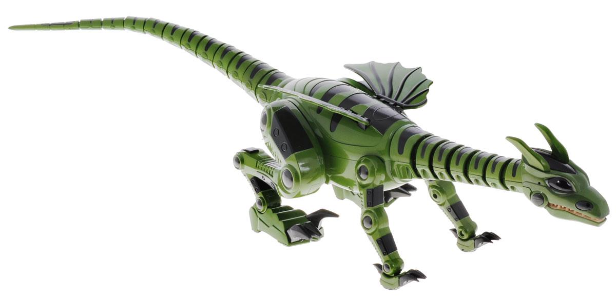 """Игрушка на радиоуправлении Junfa Toys """"Дракон"""" привлечет к себе внимание не только детей, но и взрослых. Огнедышащий дракон имеет реалистичную походку рептилии, переключается между """"прогулочным"""" шагом на 4 лапах и бегом. Умеет прыгать и атаковать. Используя встроенные сенсоры, робот сканирует окружающую обстановку, огибает препятствия. Если дракон услышит шум, он превратится в грозного хищника. Поместите в поле зрения дракона любой предмет, он издаст звук и начнет двигаться. Издайте какой-либо звук, дракон пойдет на ваш голос. Кнопка включения находится под животом дракона. Нажмите на нее, игрушка начнет двигаться, затем потанцует, после чего замрет, и будет ожидать команды. У дракона два основных режима """"Голоден"""" и """"Накормлен"""". Когда дракон """"Голоден"""", он ведет себя активно и агрессивно. Нажав кнопку """"Feed"""" на пульте дистанционного управления, вы """"Накормите"""" дракона. Накормленный дракон впадает в """"Спящее"""" состояние. Робот имеет 27 функций, включая ..."""