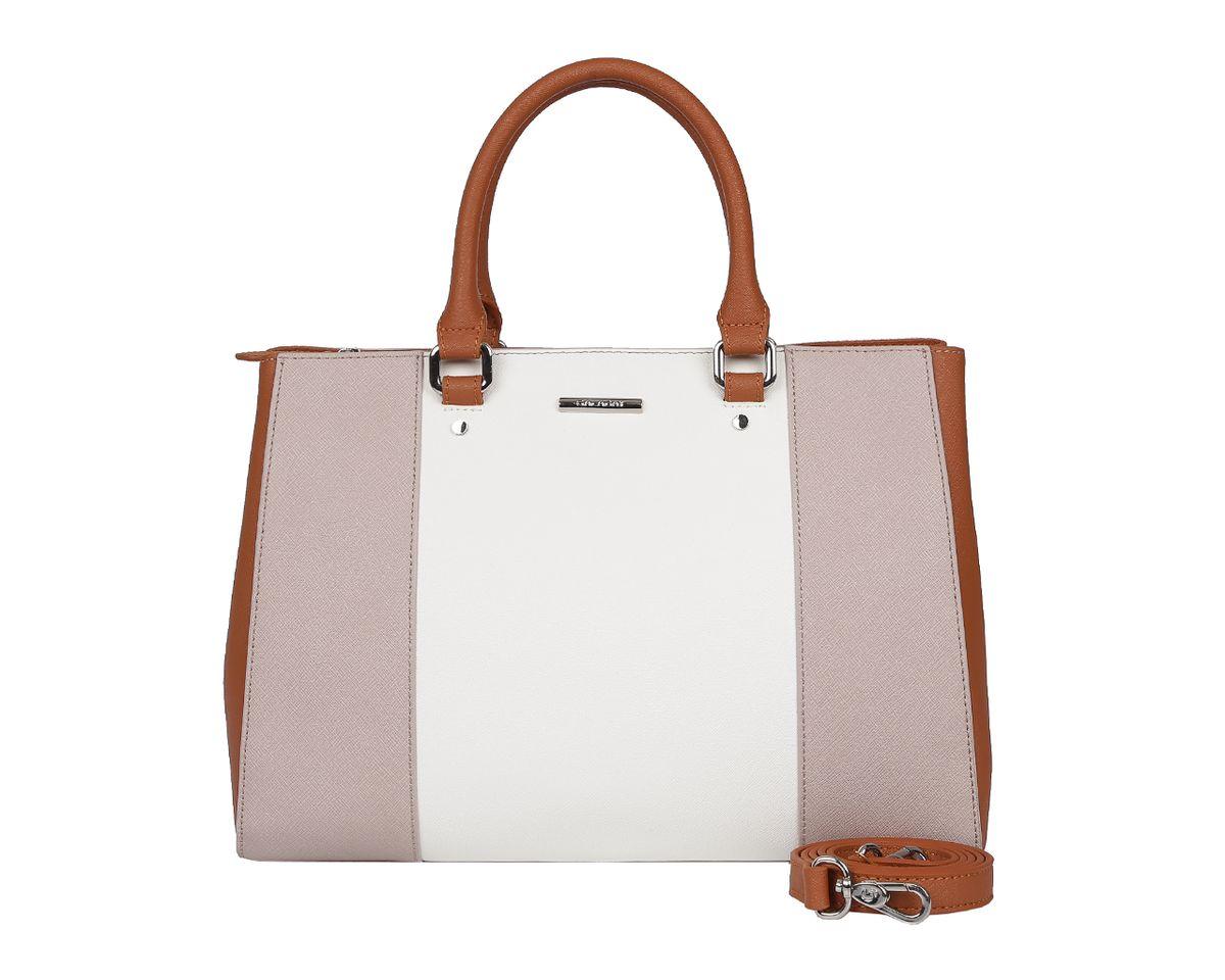 Сумка женская Galaday, цвет: белый, коричневый, серый. GD5218A-B86-05-CСтильная женская сумка Galaday выполнена из натуральной кожи с фактурным тиснением, оформлена символикой бренда.Изделие содержит одно отделение, которое закрывается на молнию. Внутри расположены два накладных кармашка для мелочей, карман-средник на молнии и врезной карман на молнии. Снаружи, на задней стороне сумки, расположен врезной карман на застежке-молнии. Сумка оснащена двумя практичными ручками для переноски, ручки крепятся к основанию сумки с помощью металлической фурнитуры, и съемным плечевым ремнем.Оригинальный аксессуар позволит вам завершить образ и быть неотразимой.