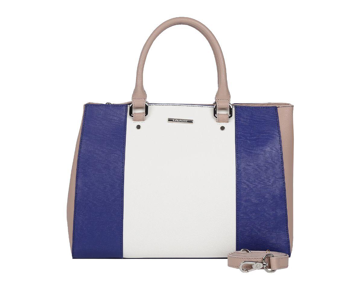 Сумка женская Galaday, цвет: белый, синий, бежевый. GD52183-47670-00504Стильная женская сумка Galaday выполнена из натуральной кожи с фактурным тиснением, оформлена символикой бренда.Изделие содержит одно отделение, которое закрывается на молнию. Внутри расположены два накладных кармашка для мелочей, карман-средник на молнии и врезной карман на молнии. Снаружи, на задней стороне сумки, расположен врезной карман на застежке-молнии. Сумка оснащена двумя практичными ручками для переноски, которые крепятся к основанию сумки с помощью металлической фурнитуры, и съемным плечевым ремнем.Оригинальный аксессуар позволит вам завершить образ и быть неотразимой.