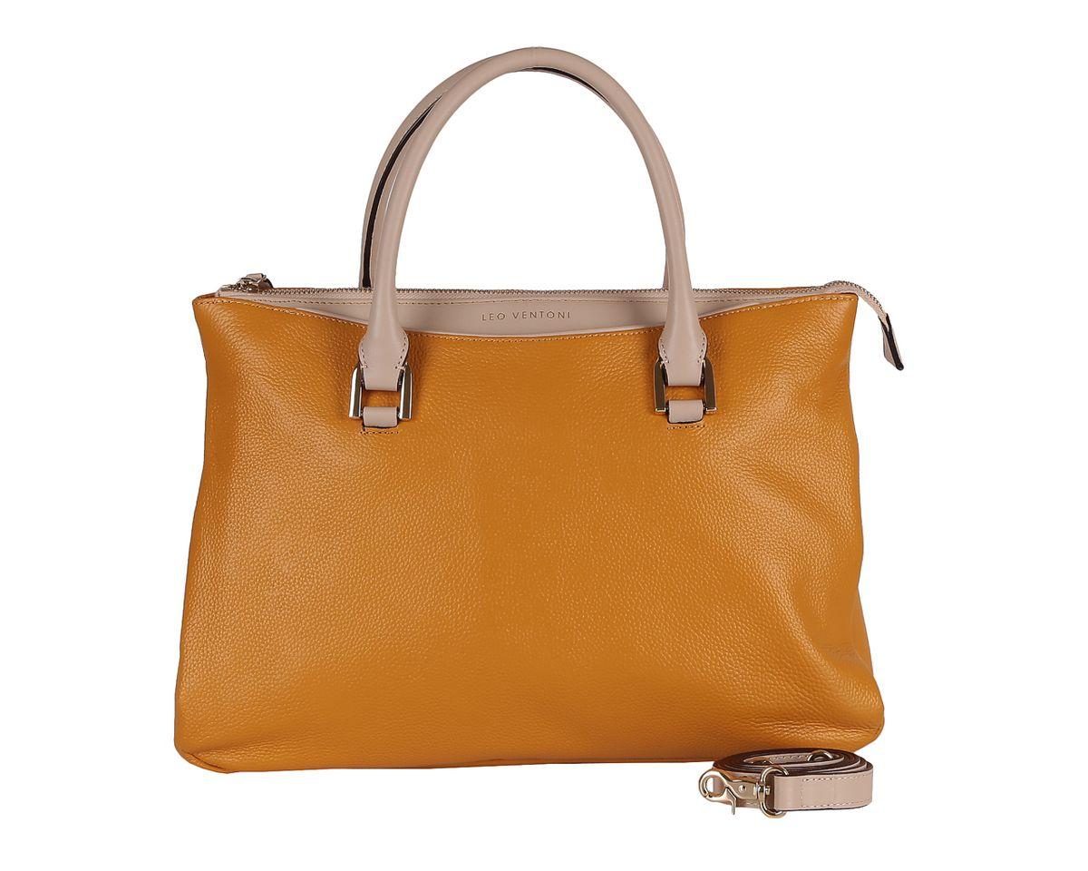 Сумка женская Leo Ventoni, цвет: желтый. 2300425123008Стильная женская сумка Leo Ventoni выполнена из натуральной кожи с зернистой фактурой, оформлена символикой бренда.Изделие содержит одно отделение, которое закрывается на молнию. Внутри расположены два накладных кармашка для мелочей, карман-средник на молнии и врезной карман на молнии. Снаружи, на задней стороне сумки, расположен врезной карман на застежке-молнии. На лицевой стороне расположен накладной карман, закрывающийся на магнитную кнопку. Сумка оснащена двумя практичными ручками и съемным плечевым ремнем. Дно сумки оснащено металлическими ножками.Оригинальный аксессуар позволит вам завершить образ и быть неотразимой.