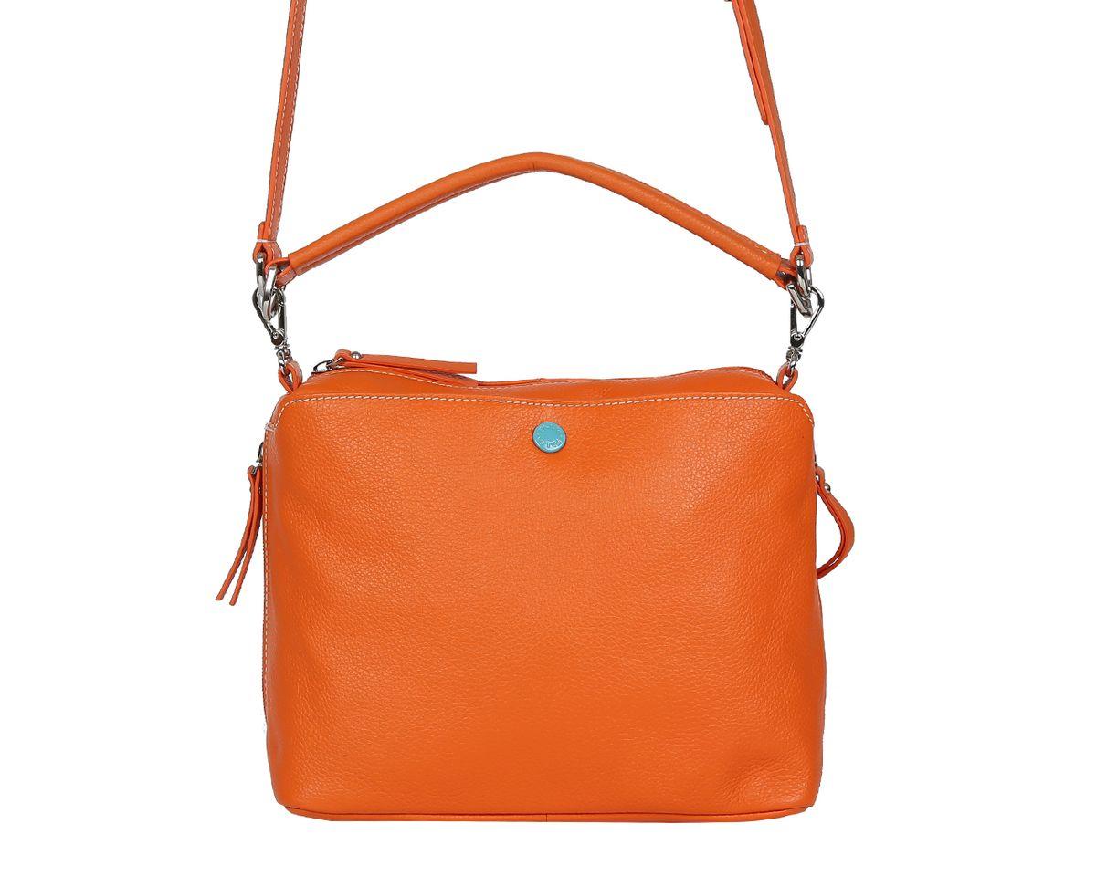 Сумка женская Palio, цвет: оранжевый. 14422A-444S76245Стильная женская сумка Palio выполнена из натуральной кожи, оформлена металлической фурнитурой.Изделие содержит одно отделение, которое закрывается на молнию. Внутри расположены два накладных кармашка для мелочей и врезной карман на молнии. Снаружи, на задней стороне изделия, расположен врезной карман на молнии. Лицевая сторона дополнена накладным карманом, который закрывается на магнитную кнопку. По бокам изделия размещены два дополнительных врезных кармана на молниях. Сумка оснащена съемным плечевым ремнем-цепочкой и съемной лямкой.Оригинальный аксессуар позволит вам завершить образ и быть неотразимой.