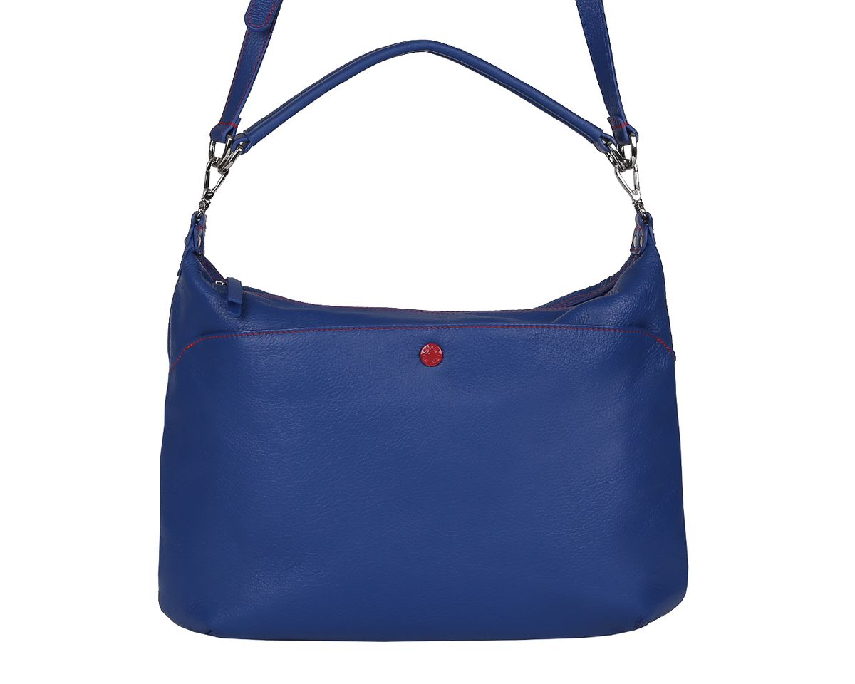 Сумка женская Palio, цвет: синий. 14423A-895S76245Стильная женская сумка Palio выполнена из натуральной кожи, оформлена металлической фурнитурой с символикой бренда и контрастной строчкой.Изделие содержит одно отделение, которое закрывается на молнию. Внутри расположены два накладных кармашка для мелочей, карман-средник на молнии и врезной карман на молнии. Снаружи, на задней стороне сумки расположен врезной карман на застежке-молнии. Лицевая сторона сумки дополнена накладным карманом на магнитной кнопке. Сумка оснащена съемной ручкой для переноски и съемным плечевым ремнем регулируемой длины.Оригинальный аксессуар позволит вам завершить образ и быть неотразимой.