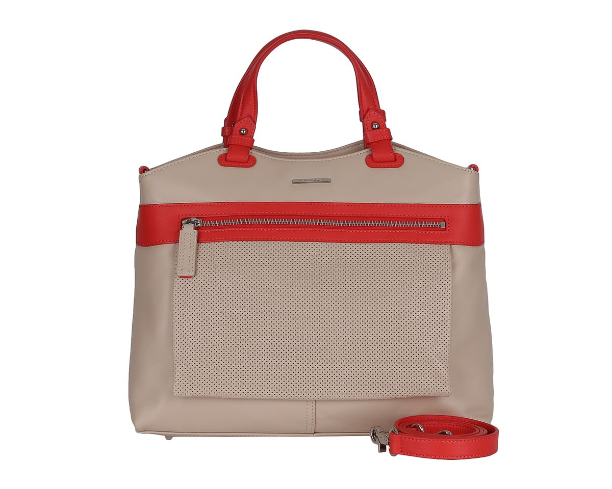 Сумка женская Leo Ventoni, цвет: бежевый. 23004210S76245Стильная женская сумка Leo Ventoni выполнена из натуральной кожи, оформлена металлической фурнитурой с символикой бренда.Сумка имеет одно отделение, которое закрывается на молнию. Внутри расположены два накладных кармашка для мелочей и врезной карман на молнии, а также карман-средник на молнии. Сумка оснащена двумя практичными ручками и съемным плечевым ремнем. Дно сумки оснащено металлическими ножками.Оригинальный аксессуар позволит вам завершить образ и быть неотразимой.