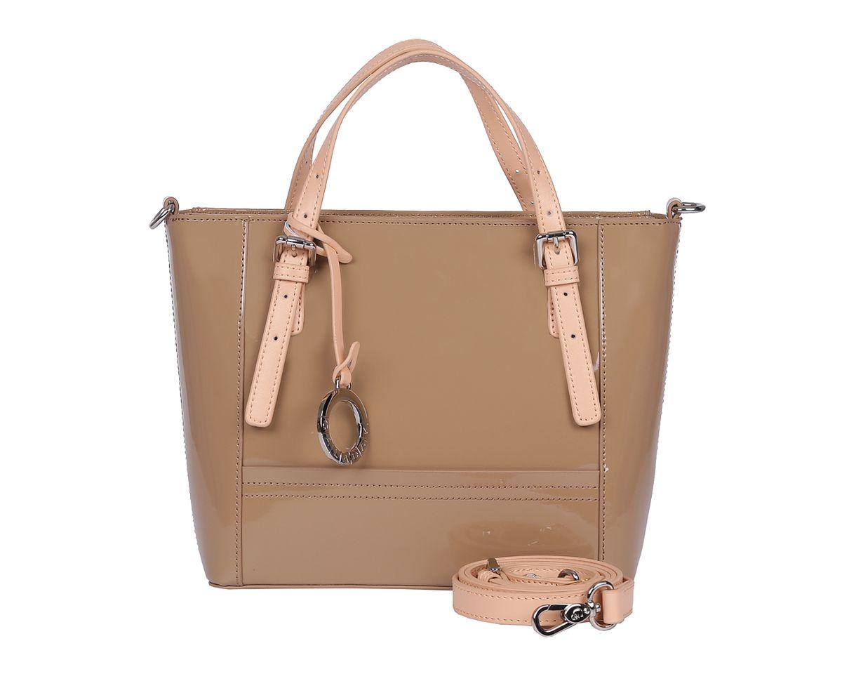 Сумка женская Galaday, цвет: хаки. GD6020KV996OPY/MСтильная женская сумка Galaday выполнена из натуральной лакированной кожи.Изделие содержит одно отделение, которое закрывается на молнию. Внутри расположены два накладных кармашка для мелочей, карман-средник на молнии и врезной карман на молнии. Снаружи, на задней стороне сумки, расположен врезной карман на застежке-молнии. Сумка оснащена двумя практичными ручками регулируемой длины, ручки крепятся к основанию сумки с помощью металлической фурнитуры, и съемным плечевым ремнем, длина которого регулируется при помощи пряжки.Оригинальный аксессуар позволит вам завершить образ и быть неотразимой.