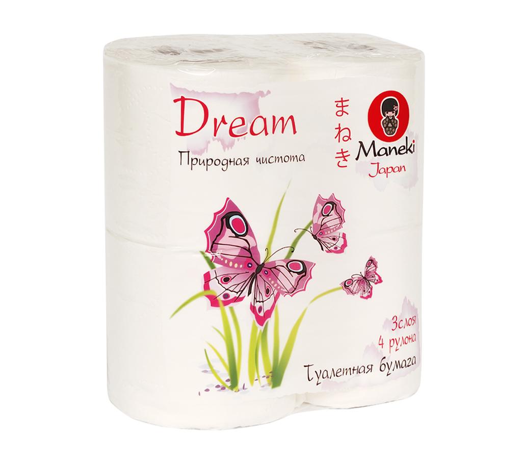 Бумага туалетная Maneki Dream, трехслойная, цвет: белый, 4 рулона391602Туалетная бумага Maneki Dream обладает приятным ароматом утренней свежести. Трехслойные листы имеют цветочный рисунок с тиснением. Необыкновенно мягкая и шелковистая бумага изготовлена из экологически чистого, высококачественного сырья - древесной целлюлозы. Мягкая, нежная, но в тоже время прочная, бумага не расслаивается и отрывается строго по линии перфорации.Длина рулона: 23 м. Количество слоев: 3. Количество листов: 167. Размер листа: 13,8 см х 10 м.