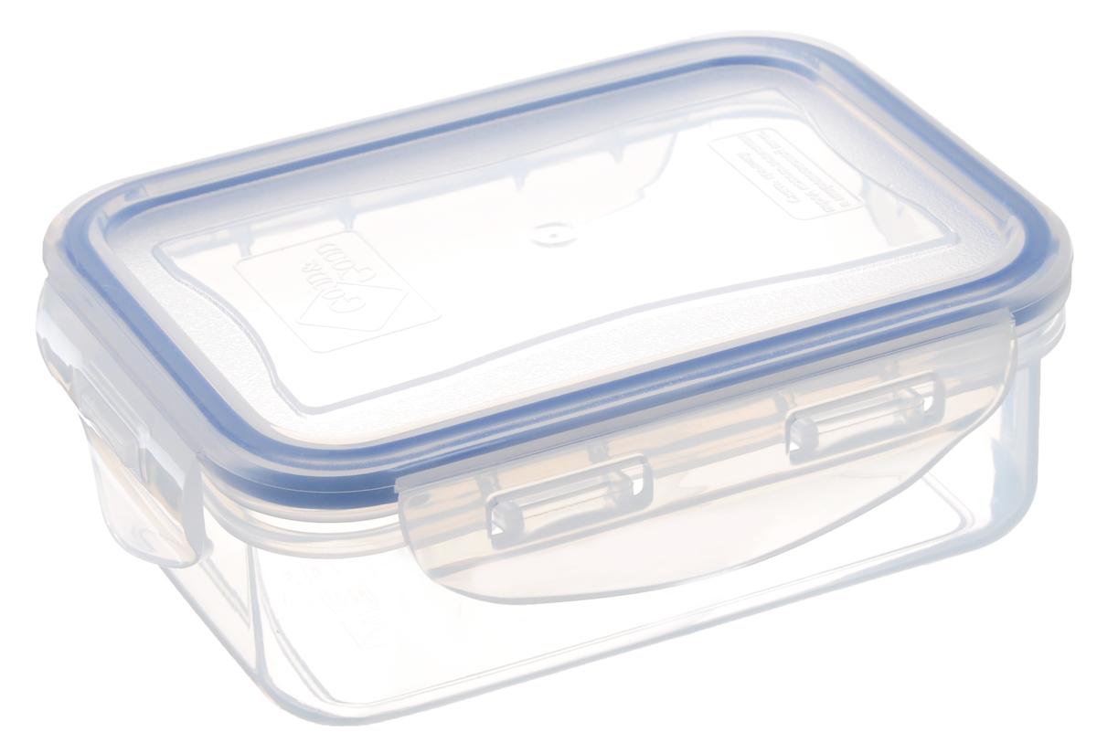 Контейнер пищевой Good&Good, цвет: прозрачный, темно-синий, 330 мл02-1Прямоугольный контейнер Good&Good изготовлен из высококачественного полипропилена и предназначен для хранения любых пищевых продуктов. Благодаря особым технологиям изготовления, лотки в течении времени службы не меняют цвет и не пропитываются запахами. Крышка с силиконовой вставкой герметично защелкивается специальным механизмом. Контейнер Good&Good удобен для ежедневного использования в быту.Можно мыть в посудомоечной машине и использовать в СВЧ.Размер контейнера (с учетом крышки): 13 х 9,5 х 4,5 см.