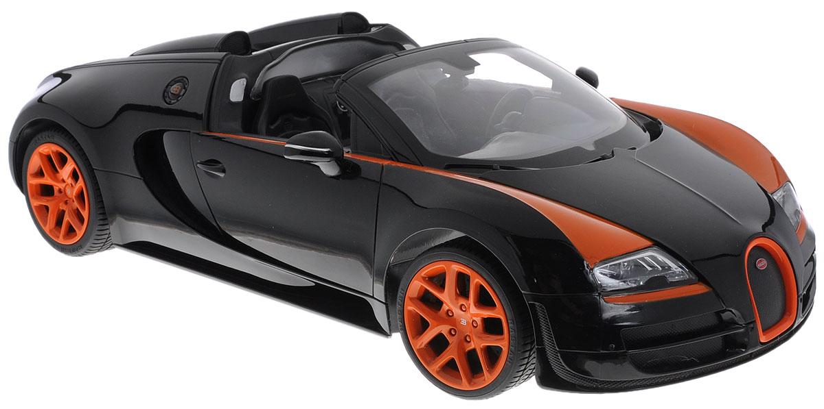 """Радиоуправляемая модель Rastar """"Bugatti Veyron 16.4 Grand Sport Vitesse"""" станет отличным подарком не только мальчику, но и взрослому! Все дети хотят иметь в наборе своих игрушек ослепительные, невероятные и крутые автомобили на радиоуправлении. Тем более, если это автомобиль известной марки с проработкой всех деталей, удивляющий приятным качеством и видом. Одной из таких моделей является автомобиль на радиоуправлении Rastar """"Bugatti Veyron 16.4 Grand Sport Vitesse"""". Это точная копия настоящего авто в масштабе 1:14. Авто обладает неповторимым стилем и спортивным характером. Потрясающая маневренность, динамика и покладистость - отличительные качества этой модели. Возможные движения: вперед-назад, вправо-влево, остановка. Имеются световые эффекты. Пульт управления работает на частоте 27 MHz. Для работы игрушки необходимы 5 батареек типа АА (не входят в комплект). Для работы пульта управления необходима 1 батарейка 9V (не входит в комплект)."""