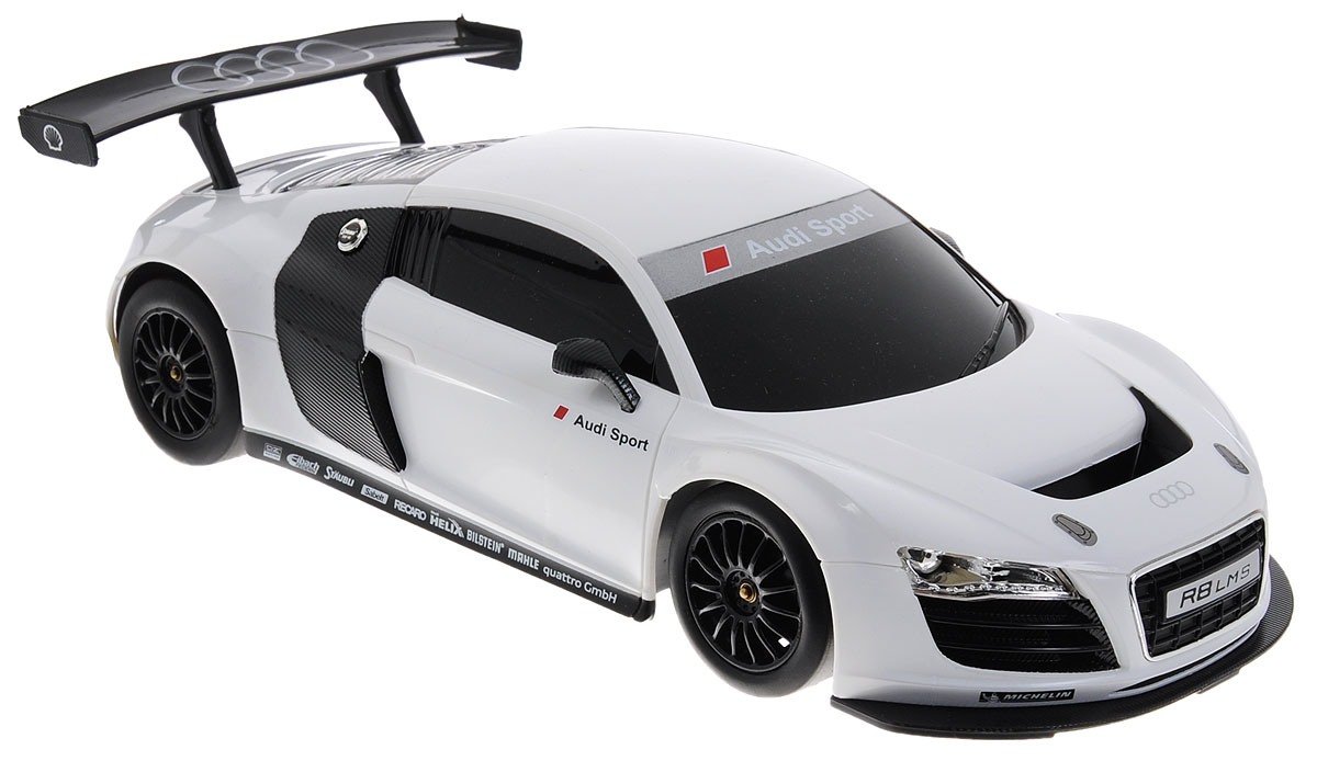 """Радиоуправляемая модель Rastar """"Audi R8"""" станет не только игрушкой, но и частью коллекции, которую может собирать и ребенок и взрослый. Гоночное авто имеет реалистичный вид, спортивный характер, высокую маневренность и динамичность. Поэтому играть с такой машиной можно не только в доме, но и даже на улице. Управление авто осуществляется благодаря пульту-рулю, с помощью которого авто может поворачивать направо и налево, а также направляться вперед, назад и останавливаться. Пульт в виде руля выполнен в очень реалистичной форме и оснащен звуковыми эффектами. Машина работает от 4 батареек напряжением 1,5V типа АА (не входят в комплект). Пульт управления работает от 3 батареек напряжением 1,5V типа АА (не входят в комплект). Ваш ребенок часами будет играть с моделью, придумывая различные истории и устраивая соревнования. Порадуйте его таким замечательным подарком!"""