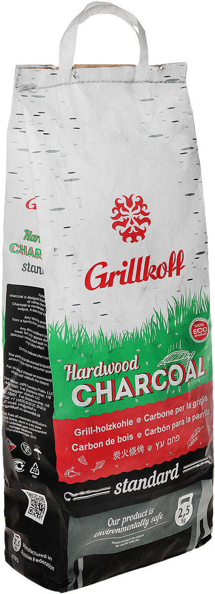 Уголь березовый Грилькофф Стандарт, для гриля, 2,5 кгХот ШейперсБерезовый уголь Грилькофф Стандарт предназначен для быстрого и качественного приготовления разнообразных блюд в мангалах и грилях. Преимущество древесного угля:- не дает пламени, обладает высокой теплоотдачей;- не выделяет канцерогенных веществ.Любые идеи для любого случая: от семейной трапезы до пикника с друзьями, любые блюда на вкус: грили из мяса, рыбы, птицы, изысканные вегетарианские блюда и овощи вы приготовите за считанные минуты с высоким гастрономическим эффектом.Размер упаковки: 52 см х 25 см х 13 см. Вес упаковки: 2,5 кг.