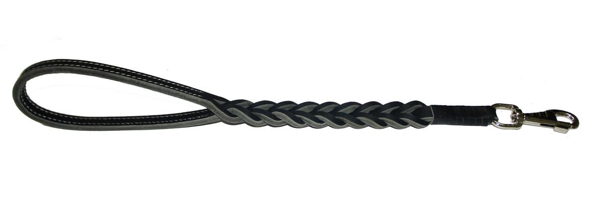 Водилка для собак Аркон Плетеная, цвет: черный, ширина 2,5 см, длина 50 смв12п2чВодилка для собак Аркон Плетеная изготовлена из высококачественной натуральной кожи. Карабин выполнен из сверхпрочного металла. Водилка - это короткий поводок, состоящий из одной ручки с петлей и мощного карабина. Этот поводок используется для ведения большой собаки рядом. Изделие отличается не только исключительной надежностью и удобством, но и привлекательным современным дизайном.Длина водилки: 50 см.Ширина водилки: 2,5 см.