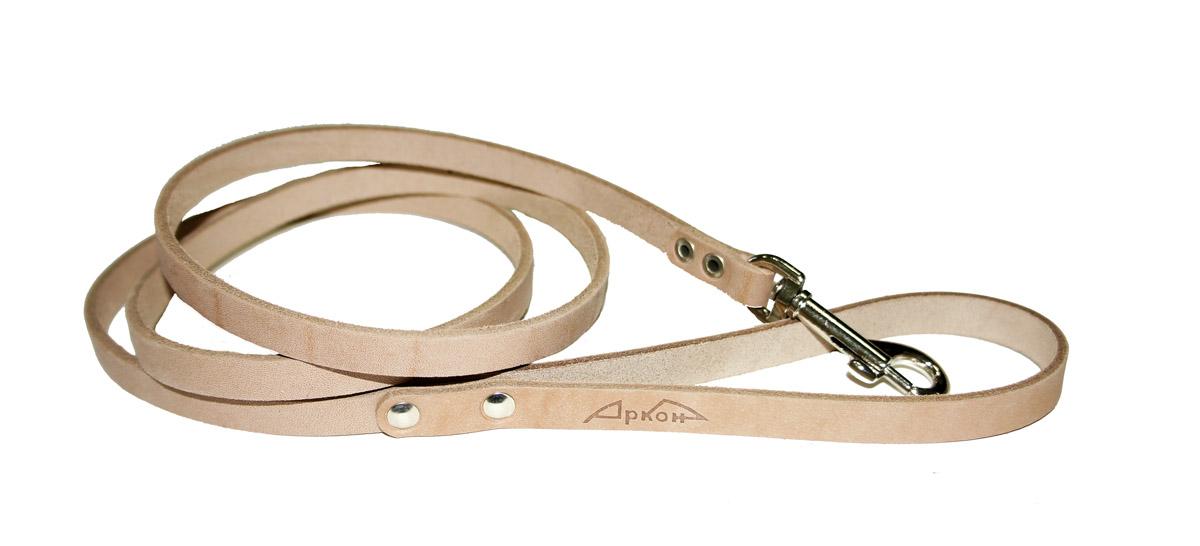 Поводок для собак Аркон Стандарт, цвет: бежевый, ширина 1,1 см, длина 140 см0120710Поводок для собак Аркон Стандарт изготовлен из высококачественной натуральной кожи. Карабин выполнен из легкого сверхпрочного сплава. Изделие отличается не только исключительной надежностью и удобством, но и привлекательным современным дизайном.Поводок - необходимый аксессуар для собаки. Ведь в опасных ситуациях именно он способен спасти жизнь вашему любимому питомцу. Иногда нужно ограничивать свободу своего четвероногого друга, чтобы защитить его или себя от неприятностей на прогулке. Длина поводка: 140 см.Ширина поводка: 1,1 см.