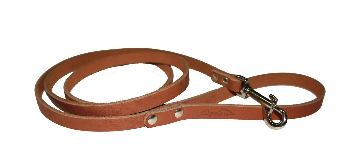Поводок для собак Аркон Стандарт, цвет: коньячный, ширина 1,1 см, длина 140 см0120710Поводок для собак Аркон Стандарт изготовлен из высококачественной натуральной кожи. Карабин выполнен из легкого сверхпрочного сплава. Изделие отличается не только исключительной надежностью и удобством, но и привлекательным современным дизайном.Поводок - необходимый аксессуар для собаки. Ведь в опасных ситуациях именно он способен спасти жизнь вашему любимому питомцу. Иногда нужно ограничивать свободу своего четвероногого друга, чтобы защитить его или себя от неприятностей на прогулке. Длина поводка: 140 см.Ширина поводка: 1,1 см.