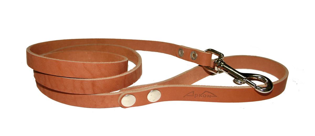 Поводок для собак Аркон Стандарт, цвет: коньячный, ширина 1,4 см, длина 140 см0120710Поводок для собак Аркон Стандарт изготовлен из высококачественной натуральной кожи. Карабин выполнен из легкого сверхпрочного сплава. Изделие отличается не только исключительной надежностью и удобством, но и привлекательным современным дизайном.Поводок - необходимый аксессуар для собаки. Ведь в опасных ситуациях именно он способен спасти жизнь вашему любимому питомцу. Иногда нужно ограничивать свободу своего четвероногого друга, чтобы защитить его или себя от неприятностей на прогулке. Длина поводка: 140 см.Ширина поводка: 1,4 см.