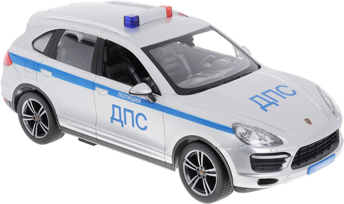 """Радиоуправляемая модель Rastar """"Porsche Cayenne Turbo Полиция ДПС"""" обязательно привлечет внимание взрослого и ребенка и понравится любому, кто увлекается автомобилями. Все дети хотят иметь в наборе своих игрушек ослепительные, невероятные и крутые автомобили на радиоуправлении. Тем более если это автомобиль известной марки с проработкой всех деталей, удивляющий приятным качеством и видом. Маневренная и реалистичная уменьшенная копия """"Porsche Cayenne Turbo Полиция ДПС"""", выполнена в точной детализации с настоящим автомобилем в масштабе 1:14. Управление машиной происходит с помощью удобного пульта. Автомобиль двигается вперед и назад, поворачивает направо и налево. Имеются световые эффекты. Модель изготовлена из пластика с металлическими элементами. Колеса игрушки прорезинены и обеспечивают плавный ход, машина не портит напольное покрытие. Радиоуправляемые игрушки способствуют развитию координации движений, моторики и ловкости. Ваш ребенок часами будет играть с..."""