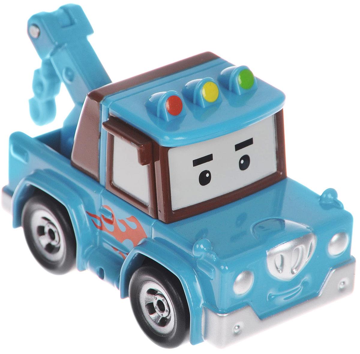 """Яркая игрушка Poli """"Эвакуатор Спуки"""" непременно понравится вашему малышу. Она выполнена из металла с элементами пластика в виде эвакуатора Спуки - персонажа популярного мультсериала """"Robocar Poli"""". Спуки оснащен поднимающимся элементов с крюком для буксировки машинок, а также колесиками со свободным ходом, позволяющими катать игрушку. Благодаря небольшому размеру ребенок сможет взять машинку с собой на прогулку, в поездку или в гости. Порадуйте своего малыша таким замечательным подарком!"""