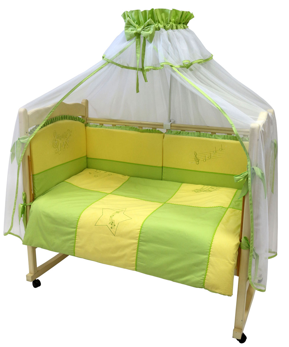 Топотушки Комплект белья для новорожденных До-ре-ми цвет салатовый желтый 3 предмета531-105Комплект белья для новорожденных Топотушки До-ре-ми выполнен в нежных тонах и украшен вышивкой. Комплект белья До-ре-ми создаст комфорт и уют в кроватке малыша и обеспечит крепкий и здоровый сон, а современный дизайн и цветовые сочетания помогут ребенку адаптироваться в новом для него мире. Комплект белья для новорожденных Топотушки До-ре-ми хорошо впишется в интерьер как детской комнаты, так и спальни родителей. Цветовые и дизайнерские решения - плоды совместных трудов европейских дизайнеров и российских технологов - делают внешний вид комплекта роскошным и незабываемым. Качество материала обеспечивает легкость стирки и долговечность. Комплект включает в себя наволочку 60 см х 40 см, пододеяльник 147 см х 112 см, простыню на резинке 60 см х 120 см.