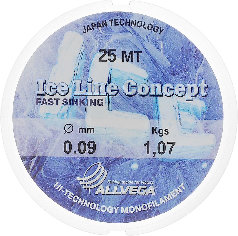 Леска Allvega Ice Line Concept, сечение 0,09 мм, длина 25 м36161Специальная зимняя леска Allvega Ice Line Concept для низких температур. Прозрачная и высокопрочная. Отсутствие механической памяти, позволяет с успехом использовать ее для ловли на мормышку.