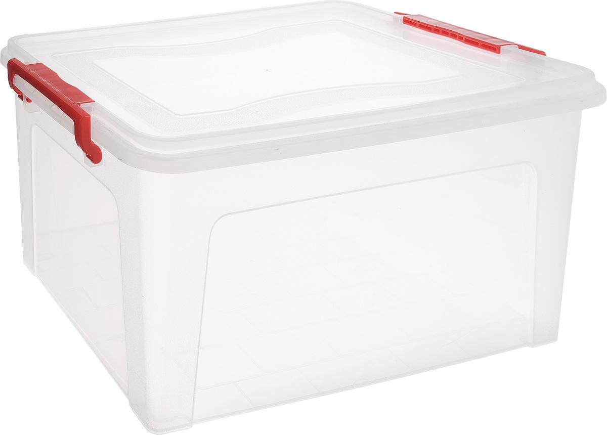 Контейнер для хранения Idea, прямоугольный, цвет: прозрачный, красный, 25 л1004900000360Контейнер Idea выполнен из полипропилена, предназначен для хранения игрушек, инструментов, швейных принадлежностей, бумаг и многого другого.Контейнер снабжен эргономичной плотно закрывающейся крышкой со специальными боковыми фиксаторами.