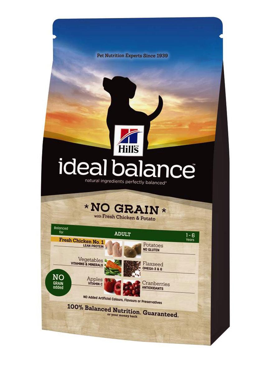 Корм сухой Hills Ideal Balance Canine Adult NO GRAIN для собак, курица и картофель, 700 г0120710Рацион Ideal Balance компании Hill's идеально сбалансирован для поддержания здоровья вашей собаки. Корм без кукурузы, пшеницы и сои. Без искусственных красителей, ароматизаторов и консервантов. Натуральные ингредиенты плюс витамины, минералы и аминокислоты. Ингредиенты варьируются в зависимости от разновидности рациона Ideal Balance.РАВИЛЬНЫЙРекомендуется • Собакам мелких и средних пород от 1 до 7 лет, умеренно активным.Не рекомендуется • Кошкам. • Щенкам. • Беременным и кормящим сукам. Во время беременности и лактации сук необходимо переводить на сухой рацион для щенков Ideal Balance Puppy.Дополнительная информация • Рационы Ideal Balance Canine Adult выпускаются в сухом и консервированном виде. • Рацион Ideal Balance Canine Adult No Grain (беззерновой) подходит для кормления собак крупных пород. Ключевые преимущества • Контролируемое содержание протеина, кальция, фосфора обеспечивает идеальный баланс нутриентов для крепкого здоровья. Не допускает избытка нутриентов, который может навредить здоровью. • Исключены зерновые. Корм без кукурузы, пшеницы и сои. В состав входит картофель. Без глютена - здоровое пищеварение для чувствительных «животиков». Картофель - источник витаминов В6 и С, калия и магния.• Добавлена натуральная клетчатка, что помогает поддерживать оптимальное количество стула • Высокое содержание Омега-6 жирных кислот поддерживает здоровье кожи и шерсти (из льняного семени) • Точный баланс натуральных ингредиентов: • Свежее мясо курицы. Превосходный источник постного белка. Превосходный источник ценных витаминов и минералов таких как: Витамины группы В, Цинк, Селен. Поддерживает питомца в хорошей стройной форме. • Клюква. Это отличный источник витаминов C и E и клетчатки. Помогает защитить организм от негативного действия свободных радикалов. Поддерживает здоровье мочевого пузыря• Яблоки. Богатый источник антиоксидантов, таких как флавоноиды, и диетической к
