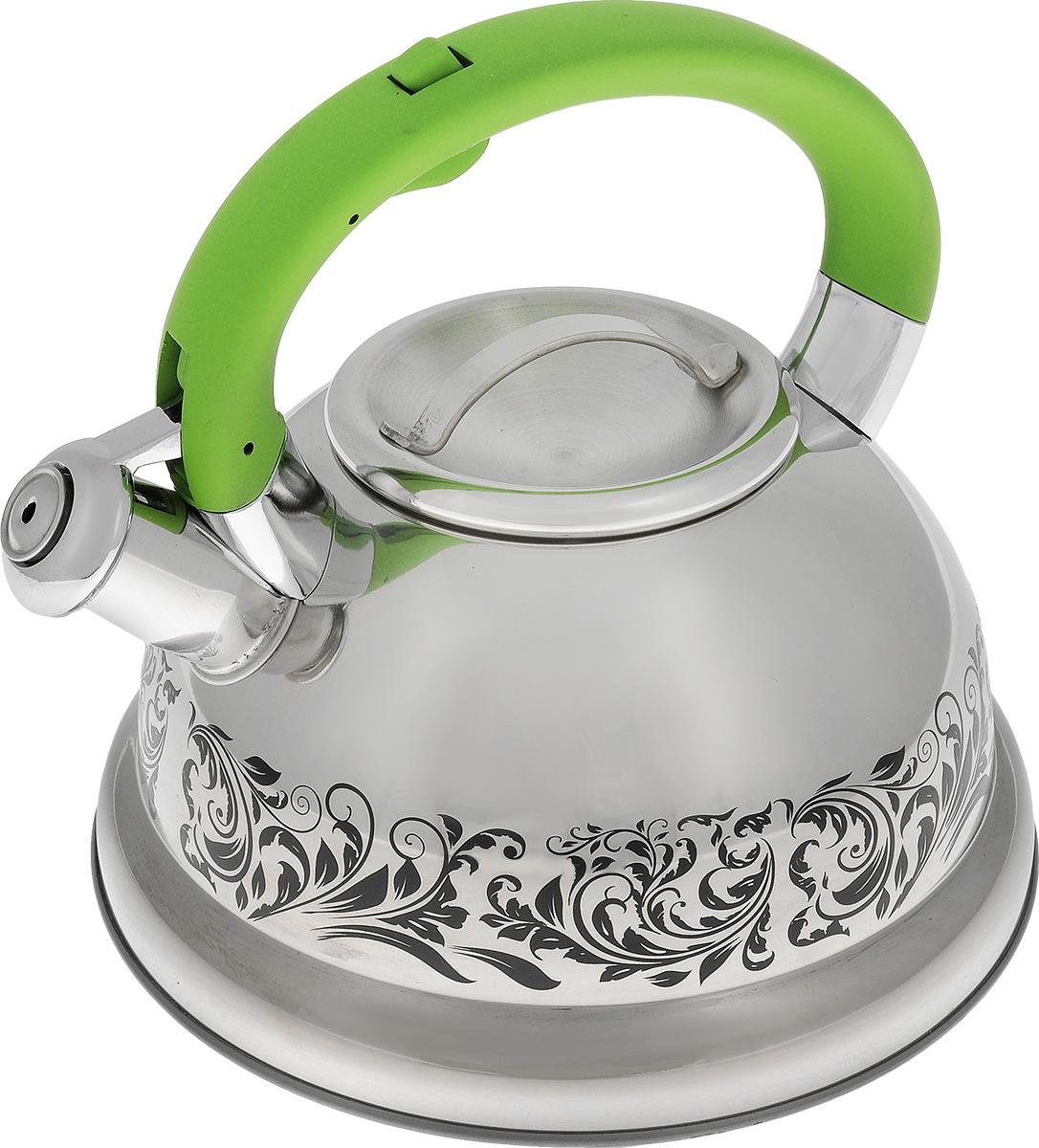 Чайник Mayer & Boch, со свистком, цвет: стальной, зеленый, 2,6 л. 2341523415Чайник Mayer & Boch выполнен из высококачественной нержавеющей стали, что обеспечивает долговечность использования. Изделие оформлено изящным рисунком, который одновременно является и индикатором цвета - при нагревании рисунок на корпусе меняет цвет. Ручка с силиконовой накладкой делает использование чайника очень удобным и безопасным. Чайник снабжен свистком и кнопкой для открывания носика. Пригоден для использования на газовых, электрических, индукционных плитах. Можно мыть в посудомоечной машине.Высота стенок чайника: 11 см.Общая высота чайника: 20,5 см.