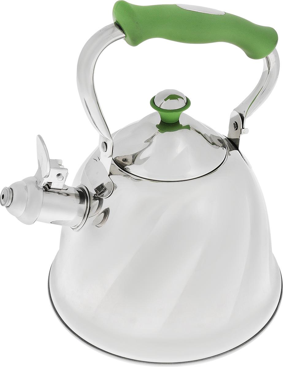 Чайник Mayer & Boch, со свистком, цвет: стальной, зеленый, 3 л68/5/4Чайник выполнен из высококачественной нержавеющей стали 18/10. Капсулированное дно с прослойкой из алюминия обеспечивает наилучшее распределение тепла. Носик чайника оснащен насадкой-свистком, что позволит вам контролировать процесс подогрева или кипячения воды. Чайник Mayer & Boch выполнен из высококачественной нержавеющей стали, что обеспечивает долговечность использования. Изделие имеет рельефные стенки и глянцевую полировку. Прорезиненная ручка делает использование чайника очень удобным и безопасным. Изделие снабжено свистком. Чайник пригоден для использования на газовых, электрических, стеклокерамических, галогеновых плитах. Можно мыть в посудомоечной машине.Высота стенок чайника: 14 см.Общая высота чайника (с учетом ручки): 27 см.