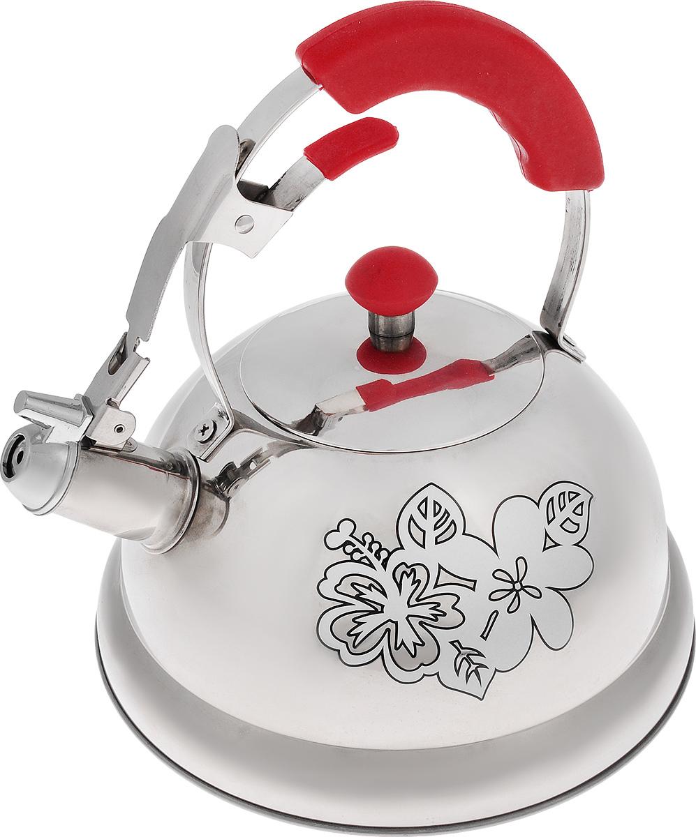 Чайник Mayer & Boch, со свистком, 2,6 л391602Чайник Mayer & Boch выполнен из высококачественной нержавеющей стали, что обеспечивает долговечность использования. Изделие оформлено изящным рисунком, который одновременно является и индикатором цвета - при нагревании рисунок на корпусе меняет цвет. Металлическая ручка с резиновой вставкой делает использование чайника очень удобным и безопасным. Чайник снабжен свистком и устройством для открывания носика. Пригоден для использования на газовых, электрических, индукционных плитах.Высота стенок чайника: 11 см.Общая высота чайника: 24 см.