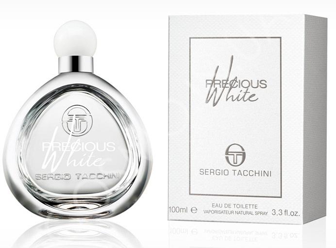 Sergio Tacchini Precious White Woman Туалетная вода, 100 мл13797Древесные, цветочные. Водяные ноты, магнолия, роза, махагони, мускус, сандаловое дерево, арбуз, груша, персик