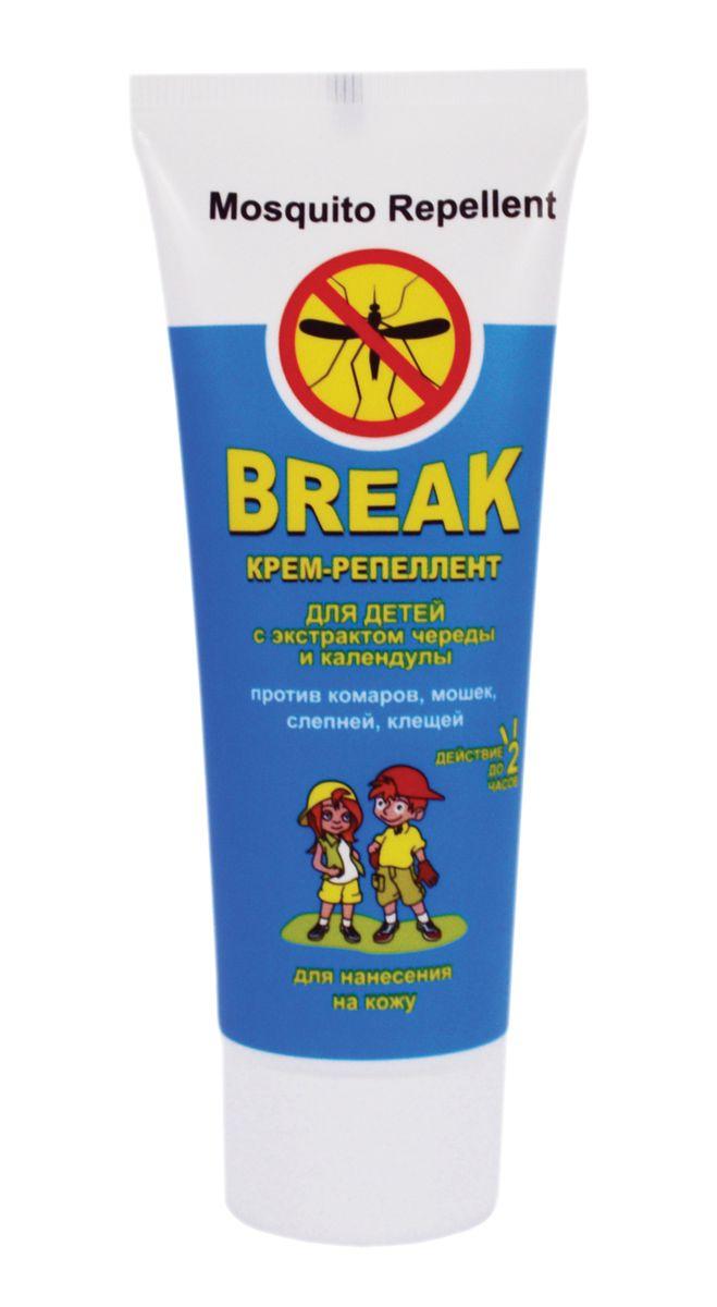 Break Крем-репеллент для детей с экстрактом череды и календулы 70 г8-422427Крем-репеллент Break для детей надежно и бережно защищает ребенка от укусов комаров, клещей, слепней и мошек. Легкая нежирная текстура позволяет быстро средство даже на самого подвижного малыша. Входящий в состав экстракт череды, календулы и пантенола обладают успокаивающими, противовоспалительными, антисептическими действиями. Рекомендовано для детей от 1 года. Действует на протяжении 2 часов.
