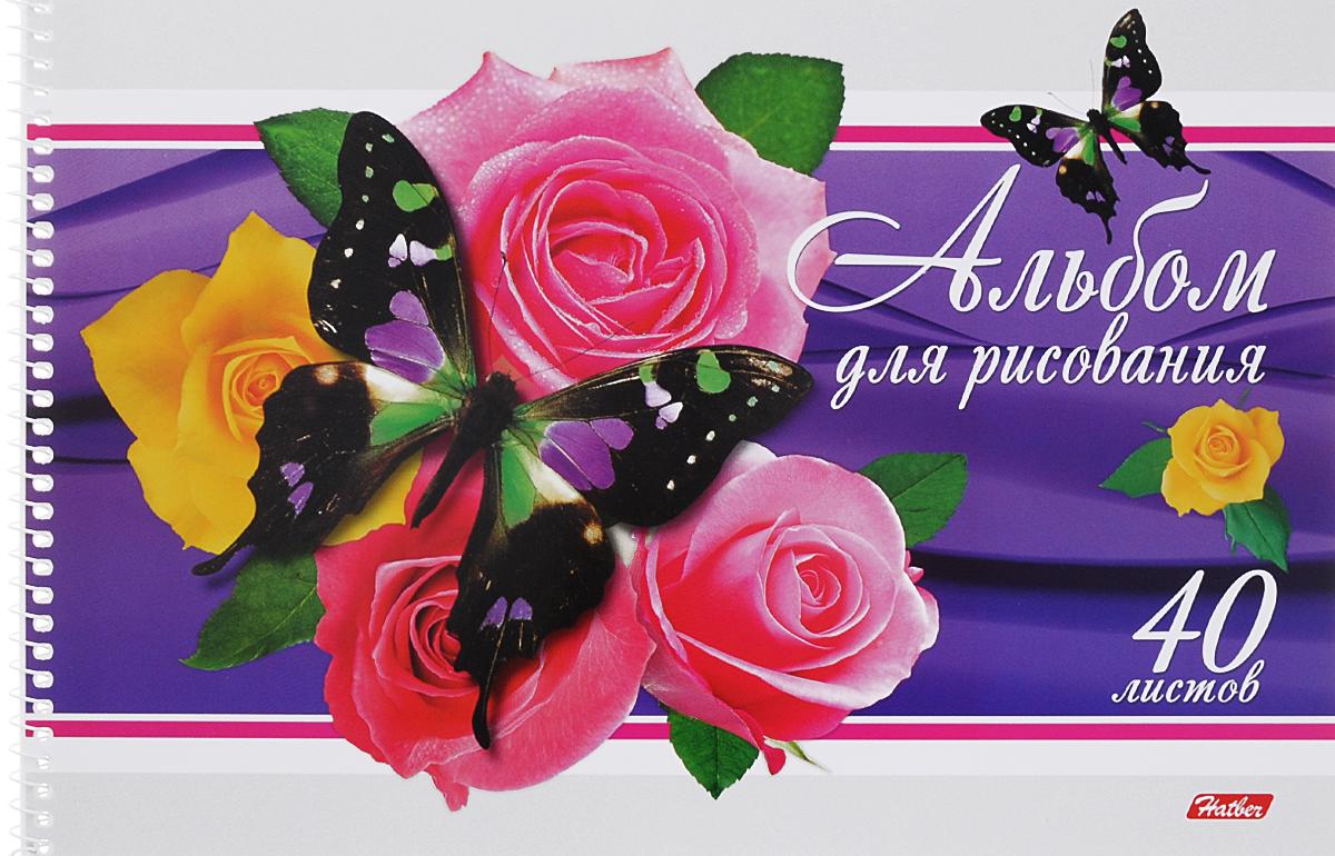 Hatber Альбом для рисования Бабочки с цветами 40 листов цвет фиолетовый72523WDАльбом для рисования Hatber Бабочки с цветами непременно порадует маленького художника и вдохновит его на творчество.Альбом изготовлен из белоснежной бумаги с яркой обложкой из плотного картона, оформленной изображением бабочки на розах. Способ крепления - металлическая спираль. Высокое качество бумаги позволяет рисовать в альбоме карандашами, фломастерами, акварельными и гуашевыми красками.
