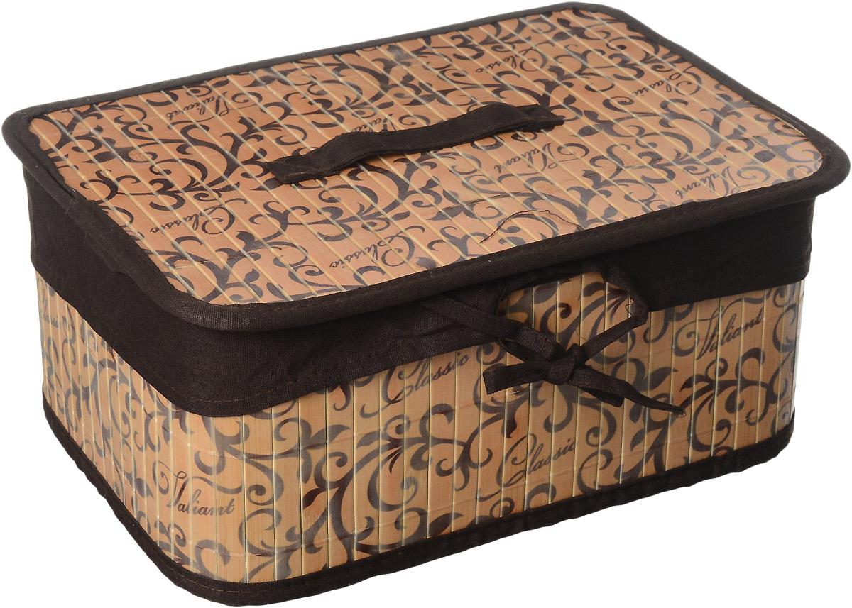 Корзина стеллажная Valiant Classic, 32 х 23 х 14 см74-0060Стеллажная корзина Valiant Classic изготовлена из обработанного натурального бамбука и текстиля, хорошо держит форму благодаря металлическому каркасу. Изделие имеет изысканный благородный узор, который гармонично смотрится в современном классическом интерьере. Корзина очень удобна и практична. Она идеально подойдет для хранения мелких вещей, легкая крышка позволяет скрыть содержимое корзины. Каркасная конструкция обеспечивает легкость складывания и раскладывания. Внутренний чехол можно стирать в машинке при температуре 40°С. Натуральные материалы делают корзину экологичным и безопасным аксессуаром для дома. Изысканный дизайн Valiant Classic придется по вкусу ценителям классического стиля. Система хранения Valiant Classic гармонично вписывается в современный классический гардероб.