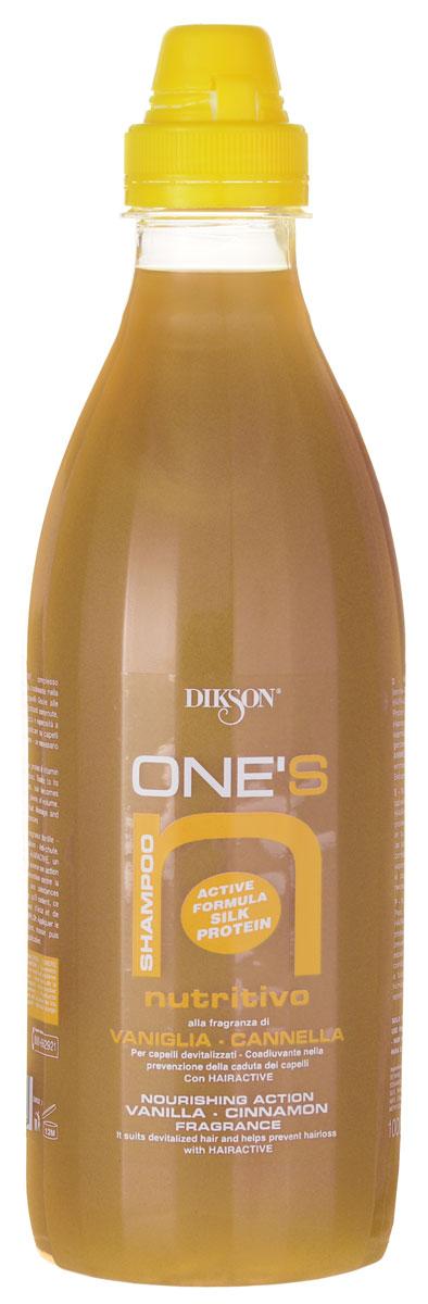 Dikson One's Питательный шампунь для волос, склонных к выпадению. Ваниль-корица Shampoo Nutritivo 1000 млFS-00897Шампунь Dikson One's Shampoo Nutritivo мягко и деликатно очищает ослабленные волосы, укрепляет волосяные фолликулы и обеспечивает интенсивное питание кожи головы. Делает объемными даже тонкие волосы.Протеиново-витаминный коктейль Hairactive отвечает за питание фолликулов, стимулирует кровообращение и активизирует рост волос.