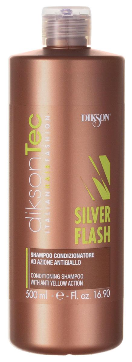 Dikson Silver Шампунь-нейтрализатор желтизны Flash Shampoo 500 млFS-00897Фиолетовый шампунь Dikson Silver Flash Shampoo предназначен для ухода за светлыми, обесцвеченными и седыми волосами. Позволяет избавиться от желтизны и зеленого пигмента.Внимание! Возможен тонирующий эффект.Благодаря содержащемуся в шампуне провитамину В5, восстанавливается водный баланс волос. За счет протеинов пшеницы волосы становятся блестящими и шелковистыми, увеличивается их объем.