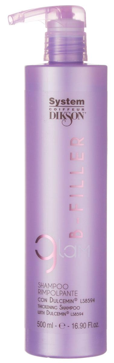 Dikson Шампунь интенсивное ухаживание с комплексом Dulcemin LS8594 Glam B-Filler Thickening Shampoo 500 млFS-36054Мягкий очищающий шампунь с кремовой консистенцией идеален для сухих, ломких и поврежденных волос. Bfiller Shampoo обогащен Dulcemin LS8594, гликопротеином, полученным из сладкого миндаля и обладающим увлажняющими, смягчающими и питательными свойствами. Glam Bfiller Shampoo является первой фазой интенсивного уплотняющего ухода, благодаря которому даже сильно поврежденные волосы будут легко расчесываться, приобретут плотность и объем. Для оптимальных результатов продолжите уход с другими продуктами линии Glam Bfiller.Активные компоненты: Dulcemin LS8594 (гликопротеин), миндаль.Результат: Волосы становятся послушными, плотными и приобретают объем.