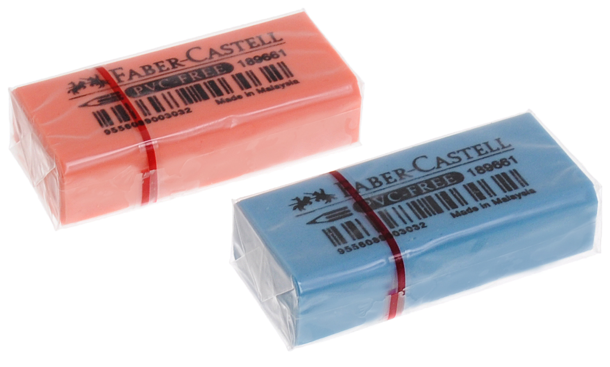 Faber-Castell Ластик флуоресцентный цвет голубой оранжевый 2 штFS-36052Ластик флуоресцентный Faber-Castell станет незаменимым аксессуаром на рабочем столе не только школьника или студента, но и офисного работника. Аккуратный и не оставляет грязных разводов. Кроме того высококачественный ластик не содержит ПВХ. Не повреждает бумагу даже при многократном стирании.В наборе 2 ластика.