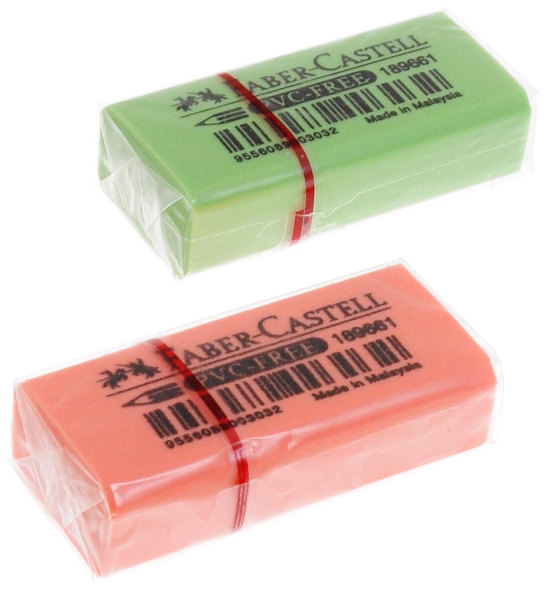 Faber-Castell Ластик флуоресцентный цвет салатовый оранжевый 2 штFS-36052Ластик флуоресцентный Faber-Castell станет незаменимым аксессуаром на рабочем столе не только школьника или студента, но и офисного работника. Аккуратный и не оставляет грязных разводов. Кроме того высококачественный ластик не содержит ПВХ. Не повреждает бумагу даже при многократном стирании.В наборе 2 ластика.