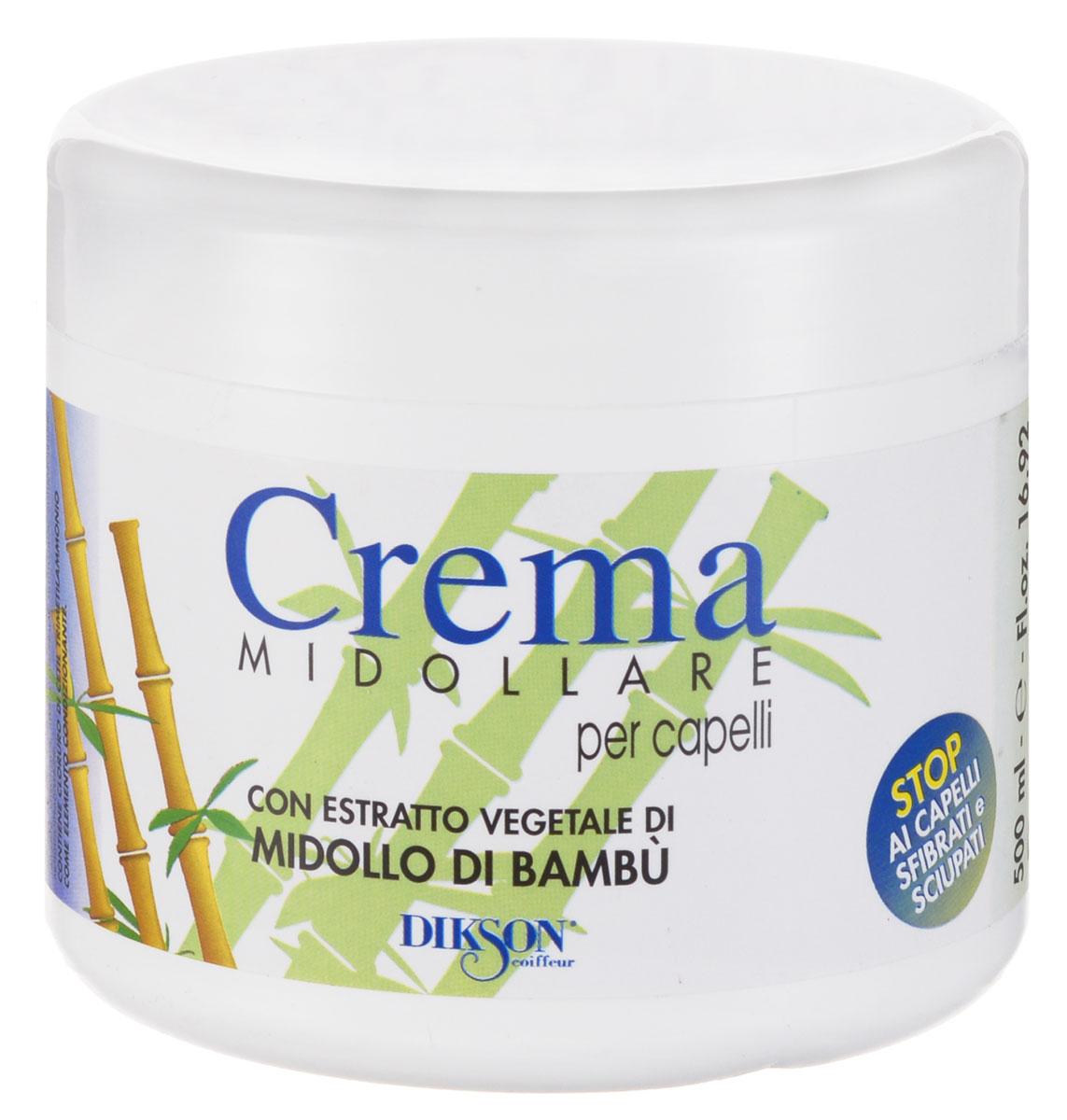 Dikson Восстанавливающий бальзам с экстрактом бамбука Crema Midollare Bambu 500 млSatin Hair 7 BR730MNCrema Midollare Bambu - крем-бальзам, предназначенный для восстановления и питания секущихся, поврежденных и безжизненных волос. Нейтрализует секущиеся кончики, питает волосы, тонизирует их и препятствует выпадению. Дарит волосам блеск и шелковистость.