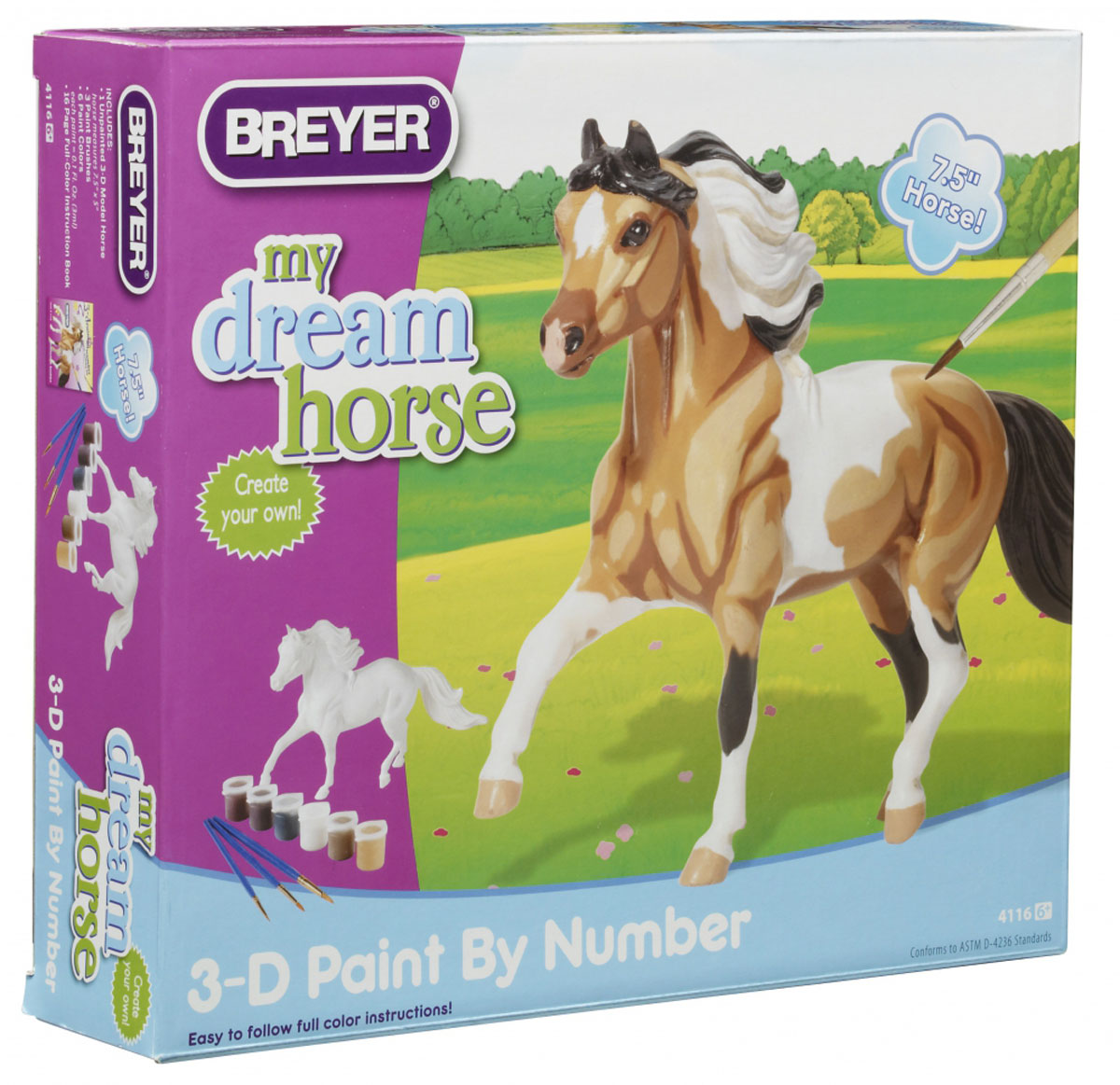 """Набор для творчества My Dream Horse """"Раскрась лошадь"""" поможет вашему ребенку почувствовать себя настоящим художником и своими руками раскрасить фигурку лошади! Следуя своему воображению, малыш превратит белую фигурку лошадки в яркую и красочную игрушку. Руководствуясь рисунками в буклете, необходимо последовательно наносить краски на фигурку, не забывая про отметины и тени. Занятия с таким набором помогут малышу развить творческое мышление, фантазию, научат его усидчивости и аккуратности, а готовая фигурка станет великолепной игрушкой или необычным подарком для родных и друзей."""