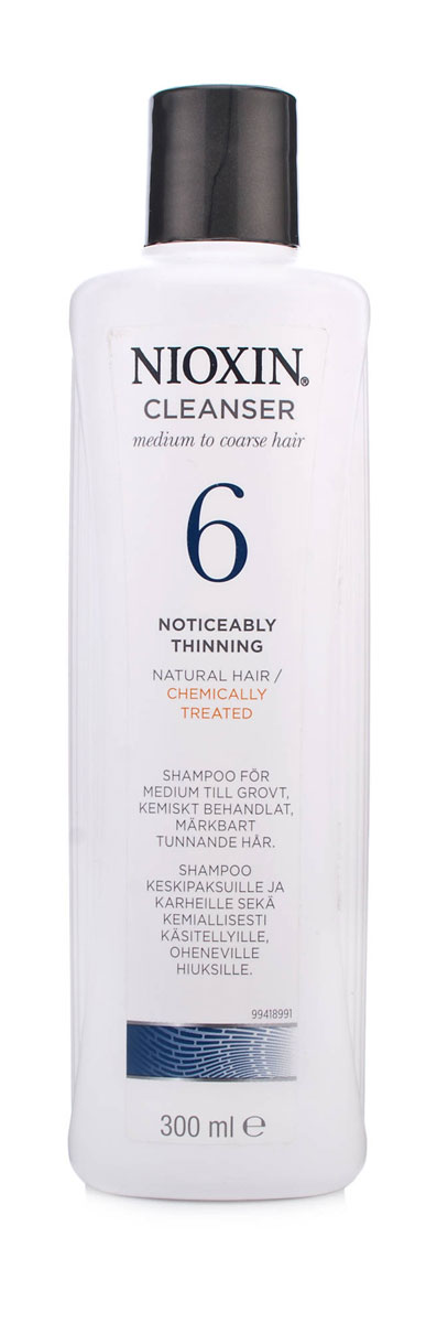 Nioxin Cleanser Очищающий шампунь (Система 6) System 6, 300 млFS-00897Шампунь очищающий Система 6 предназначен для жестких волос, которые склонны к выпадению. Средство бережно очищает и смягчает кожу головы, снабжая ее полезными компонентами. Таким образом, шампунь от Ниоксин питает корни волос и предотвращает их выпадение. Также средство освежает кожу головы. После применения шампуня от Nioxin волосы становятся мягкими и здоровыми, они выглядят пластичными и блестящими, а кожа головы защищена от внешнего влияния.