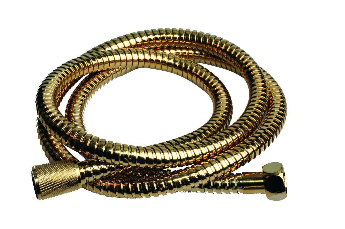 Шланг для душа Argo Eur, цвет: золото, 1/2, 150 смBL505Универсальный гибкий шланг для душа Argo Eur с внешней оболочкой изнержавеющей стали, сочетает в себе отличные эксплуатационные характеристикии приятный дизайн. Прочный и надежный шланг эргономичен и прост в монтаже, удобен виспользовании. Длина: 150 см. Выходы шлага: 1/2. Тип фитинга: гайка - конус с насечкой.Тип соединения оплетки: двойной замок.