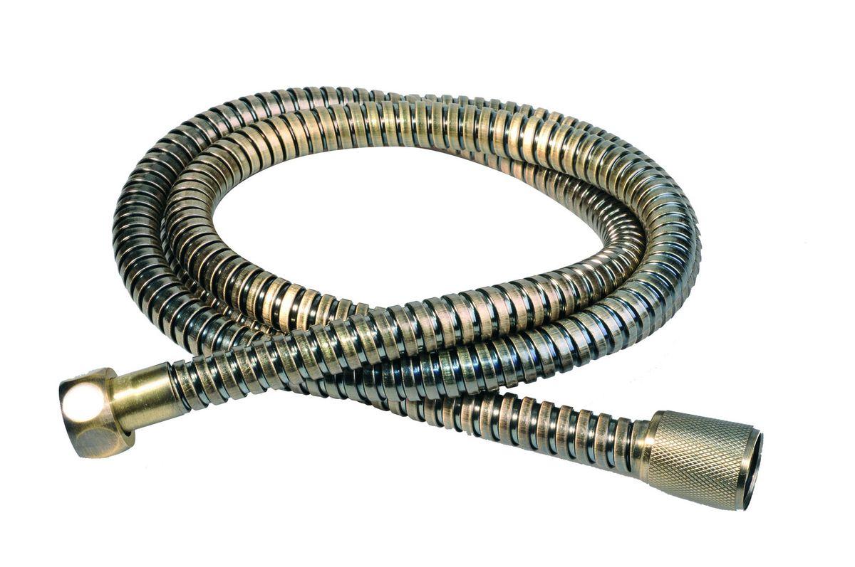 Шланг для душа Argo Eur, цвет: латунь, 150 см. 33102BL505Универсальный гибкий шланг для душа Argo Eur с внешней оболочкой изнержавеющей стали, сочетает в себе отличные эксплуатационные характеристикии приятный дизайн. Прочный и надежный шланг эргономичен и прост в монтаже, удобен виспользовании. Длина: 150 см. Выходы шлага: 1/2. Тип фитинга: гайка – конус с насечкой.Тип соединения оплетки: двойной замок.