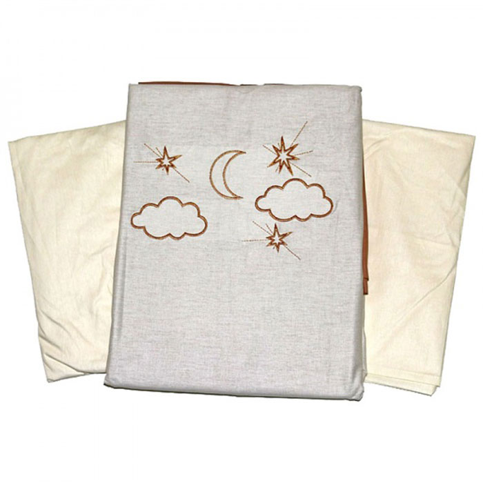 Топотушки Комплект белья для новорожденных Карамелька 3 предмета96281496Комплект белья для новорожденных Топотушки Карамелька выполнен в нежных бежево-коричневых тонах с вышитыми звездами, месяцем, облаками и мишкой. Комплект белья Карамелька создаст комфорт и уют в кроватке малыша и обеспечит крепкий и здоровый сон, а современный дизайн и цветовые сочетания помогут ребенку адаптироваться в новом для него мире. Комплект белья для новорожденных Топотушки Карамелька хорошо впишется в интерьер как детской комнаты, так и спальни родителей. Цветовые и дизайнерские решения - плоды совместных трудов европейских дизайнеров и российских технологов - делают внешний вид комплекта роскошным и незабываемым. Качество материала обеспечивает легкость стирки и долговечность. Комплект включает в себя наволочку 60 см х 40 см, пододеяльник 147 см х 112 см, простыню на резинке 60 см х 120 см.