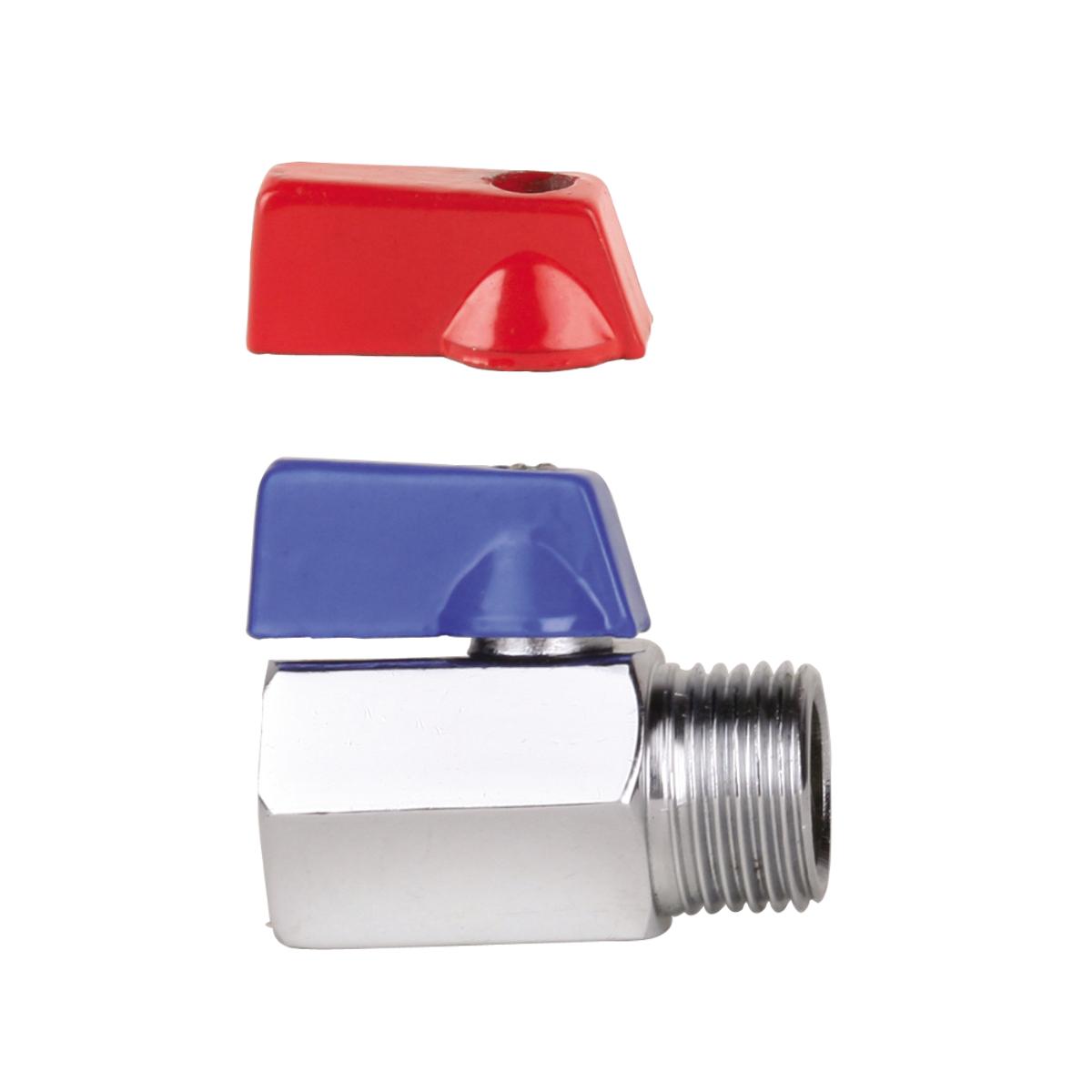 Кран-мини 1/2, резьба внутренняя / наружная, ручка флажок AQUALINK13296Кран-мини 1/2, резьба внутренняя / наружная, ручка флажок предназначен для систем питьевого холодного и горячего водоснабжения, отопления, систем сжатого воздуха, жидких углеводородов, а также для технологических трубопроводов, транспортирующих жидкости, не агрессивные к материалам крана. Рекомендуется поворачивать ручку крана не меньше одного раза в 3 месяца для предотвращения образования солей кальция. Использование шаровых кранов в качестве регулирующей арматуры не допускается. Минимальные размеры позволяют инсталлировать краны в условиях ограниченного пространства.Диаметр: 1/2 (15 мм).
