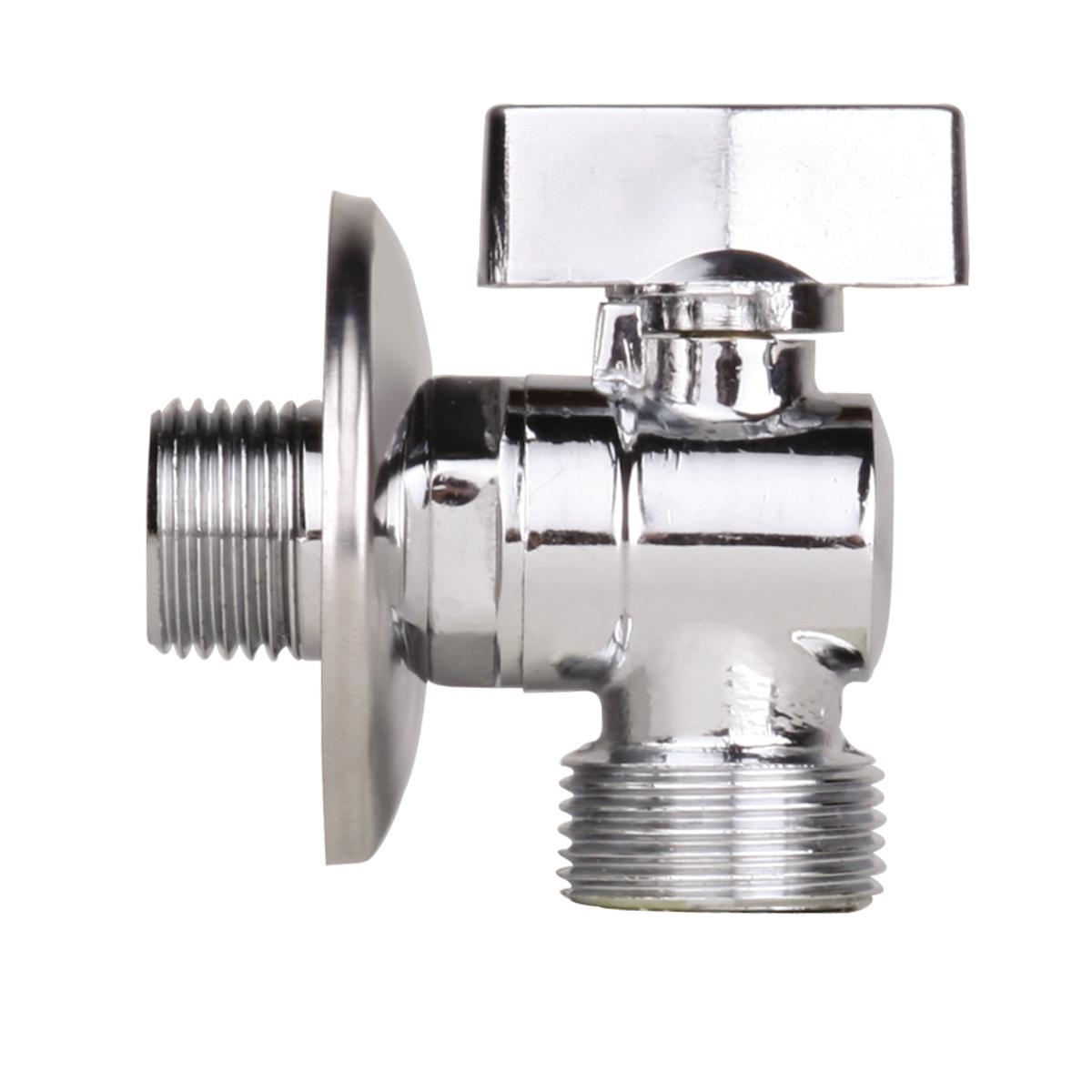 Кран шаровый усиленный угловой для подключения стационарных приборов с отражателем 1/2х1/2, резьба: наружная/наружная, хромированный, JIF 26168/5/3Кран шаровый усиленный угловой для подключения стационарных приборов с отражателем 1/2х1/2, резьба: наружная/наружная, хромированный, JIF 261 предназначен для подключения к холодной и горячей водопроводной сети санитарных приборов (смывных бачков, смесителей, стиральных и посудомоечных машин и пр.) с помощью гибких соединителей с накидной гайкой. Кран позволяет перекрывать подачу воды к конкретному источнику потребления воды.