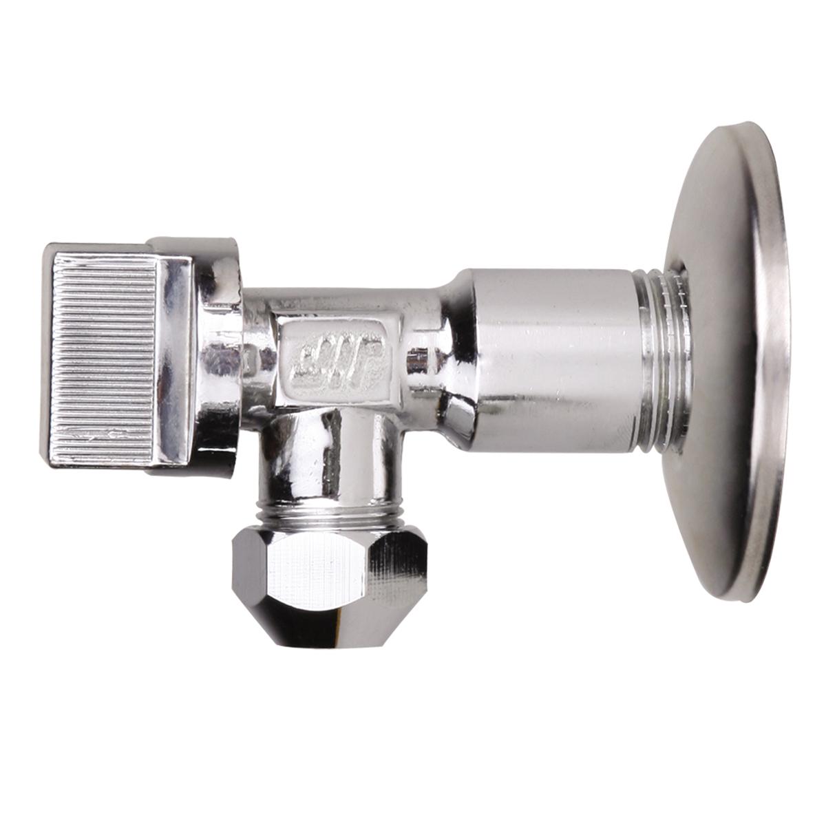 Кран шаровый усилинный угловой, для подключения стационарных приборов с отражателем 1/2х3/8 с цангой M10 хром, JIF 265BL505Кран шаровый усилинный угловой, для подключения стационарных приборов с отражателем 1/2х3/8 с цангой M10 (тип L86) хром, JIF 265 предназначен для подключения к водопроводной сети санитарных приборов (смывных бачков, и пр.).